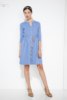 Kirti Button Front Dress-Blue
